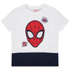 T-shirt manches courtes bicolore à broderie Spiderman