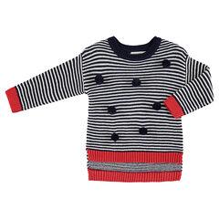 Trui van tricot met contrasterende strepen en pompons