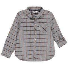 Chemise manches longues à carreaux en jacquard