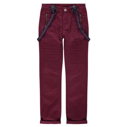 Junior - Pantalon en twill avec découpes et bretelles amovibles