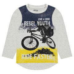 Tee-shirt manches longues en jersey avec print esprit ride