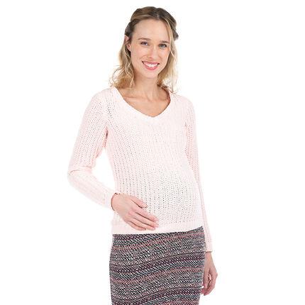 Pull de grossesse en tricot rose pâle