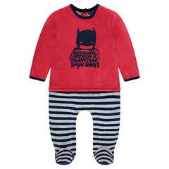 Fluwelen pyjama met 2-in-1 effect en BATMA-print