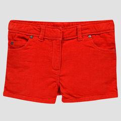 Short in rode fijn geribd fluweel