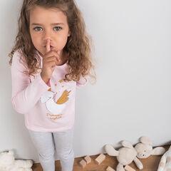 Pyjama van jerseystof met eenhoornprint met pailletjes