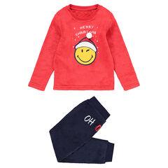 Junior - Pyjama van fleece in twee kleuren met print met Smiley in kerstsfeer