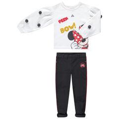 Jogging met trui met pompons en print van Disney's Minnie en jegging van ribstof