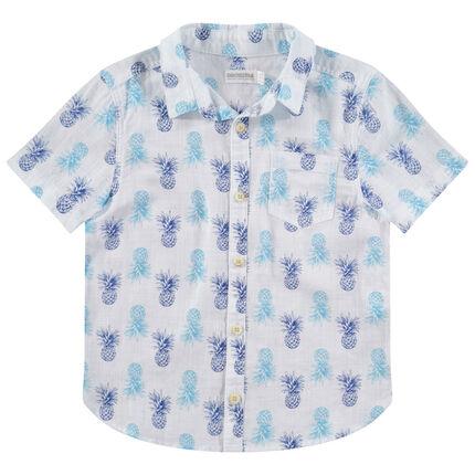 Chemise manches courtes avec ananas imprimés all-over