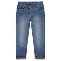 Jeans met used en crinkle effect en met roze voering van jerseystof