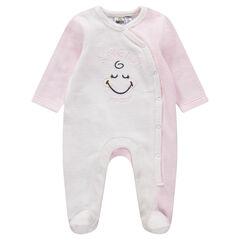 Pyjama van velours in twee kleuren met geborduurde Smiley Girl