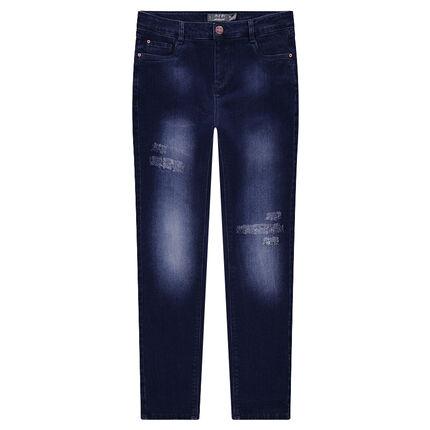 Junior - Jeans met used-effect en geborduurde bloemen aan de achterzijde