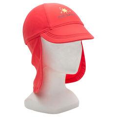 Rode SPF 50+ anti-UV pet met flap en fantasieprint