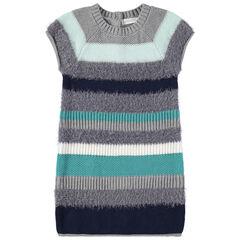 Jurk met korte mouwen en blauwe en grijze streepje uit decoratieve tricot