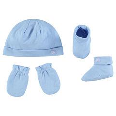 Ensemble bonnet uni, moufles et chaussons en jersey
