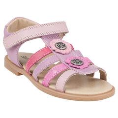 Open schoenen in leder bandjes in paarse kleur patch met bloemen