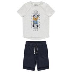 Ensemble van T-shirt met skateboardprint en effen bermuda