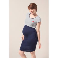 Zwangerschaps- en borstvoedingsnachthemd met korte mouwen, strepen en print met hart