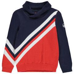 Pull en tricot à bandes contrastées esprit vintage et col roulé