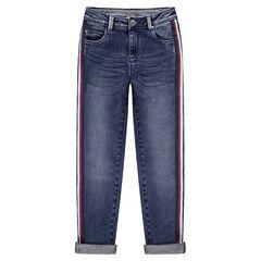 Junior - Jeans met used en crinkle-effect en contrasterende banden aan de zijkanten