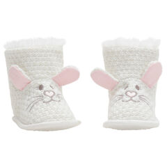 Pantoffels van fantasietricot met konijnenoren met reliëf en borduurwerk