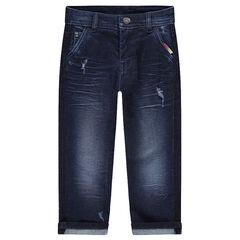 Slim-fit jeans met used en crinkle effect met reliëfopschrift