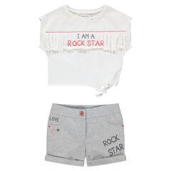 Ensemble avec tee-shirt à franges et short en jersey printé