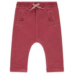 Pantalon en coton fantaisie surteint avec poches passepoilées