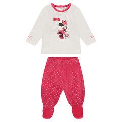 Pyjama van velours in twee kleuren met print van Disney's Minnie