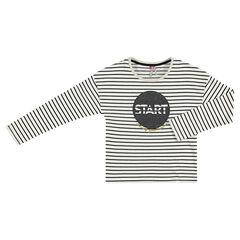Tee-shirt manches longues rayé avec print pailleté sur le devant
