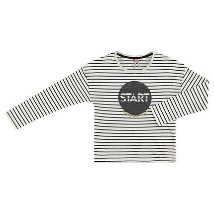 Gestreept T-shirt met lange mouwen en print met pailletten aan de voorzijde