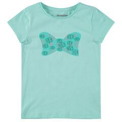 T-shirt met korte mouwen, fantasiemotief en reliëfdetails