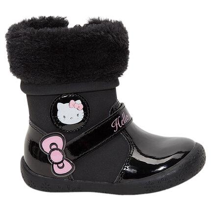 Bottines noires vernies Hello Kitty avec col en fausse fourrure