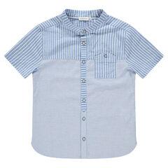 Junior - Hemd met korte mouwen, fijne streepjes en zakje