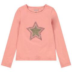 T-shirt manches longues uni à étoile en sequins magiques