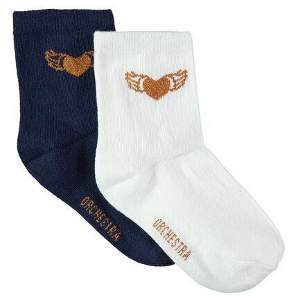 Junior - Set met 2 paar effen sokken met hartjes van gouden jacquard