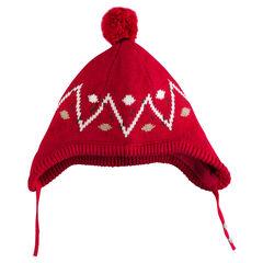 Peruviaanse hoed in tricot met pompon met motif met jacquard