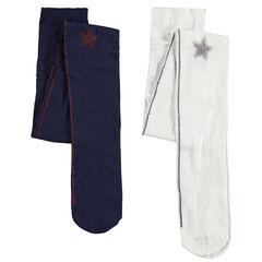 Set met 2 dunne panty's met stroken en blinkende sterren