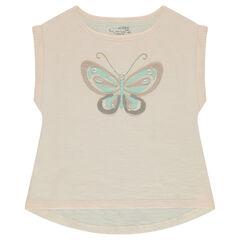 T-shirt met korte mouwen uit slub jerseystof met vlinder van mesh
