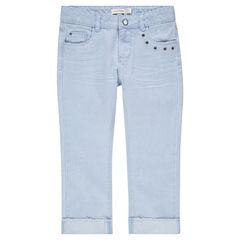 Junior - Pantacourt en jean effet used et crinkle à oeillets fantaisie