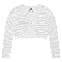 Junior - Korte vest van tricot met ajour