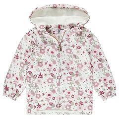 Coupe-vent à capuche imprimé fleurs all-over doublé sherpa fine