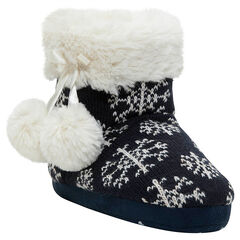 Chaussons forme botte en tricot avec pompons et doublure sherpa
