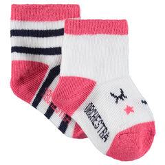 Set met 2 paar matching sokken met strepen en motieven van jacquard