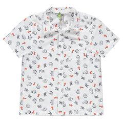 Chemise manches courtes avec imprimés all-over et poche