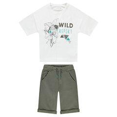 Junior - Ensemble van T-shirt met luipaardprint en bermuda van molton