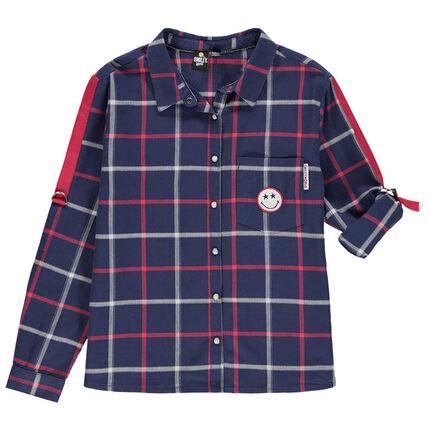 Junior - Geruit hemd met lange mouwen en Smiley-badge