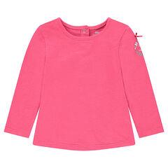 Roze T-shirt met lange mouwen, print en strik
