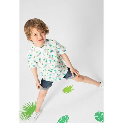 Chemise manches courtes en coton fantaisie avec feuilles imprimées