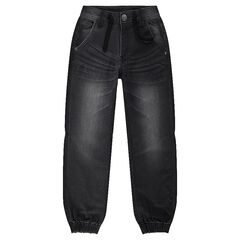 Jeans van molton met used denimeffect.