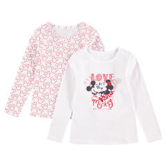 Set van 2 T-shirts met lange mouwen (body's) in jerseystof van Mickey & Minnie ©Disney